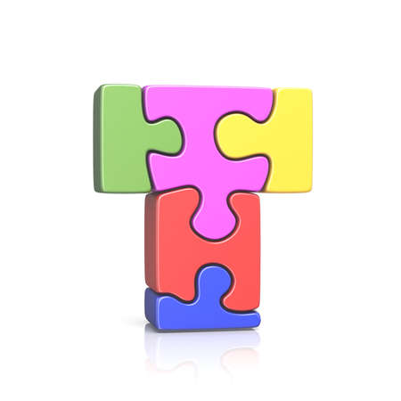 Puzzle jigsaw letter T 3D render illustration isolated on white background