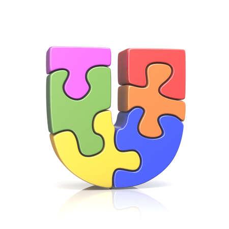 Puzzle jigsaw letter U 3D render illustration isolated on white background Stock Photo