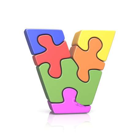 Puzzle jigsaw letter V 3D render illustration isolated on white background Stock Photo