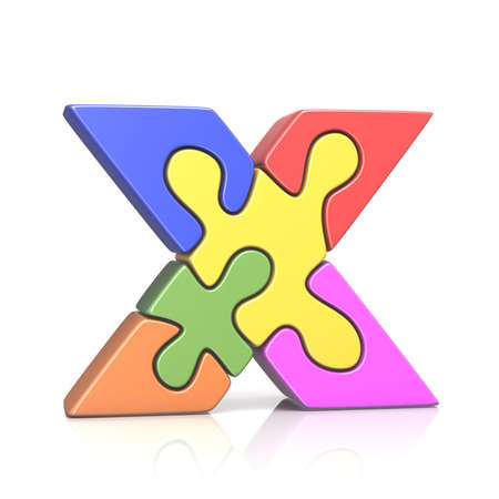 Puzzle jigsaw letter X 3D render illustration isolated on white background