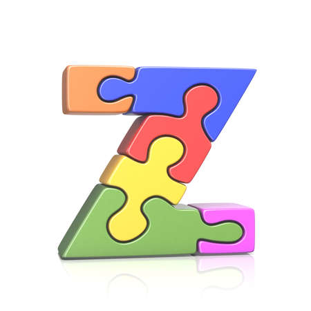 Puzzle jigsaw letter Z 3D render illustration isolated on white background