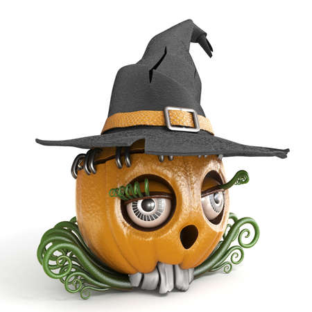Halloween pumpkin Jack O Lantern lady with witch hat 3D render illustration isolated on white background