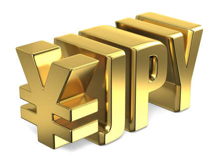 Japanese yen JPY golden currency sign 3D render illustration isolated on white background