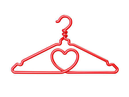 Red wire clothes hangers heart shaped 3D render illustration isolated on white background.