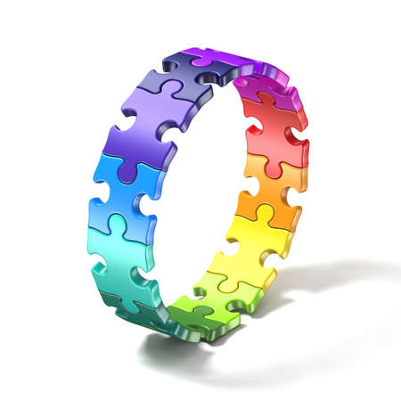 Colorful puzzle ring 3D render illustration isolated on white background