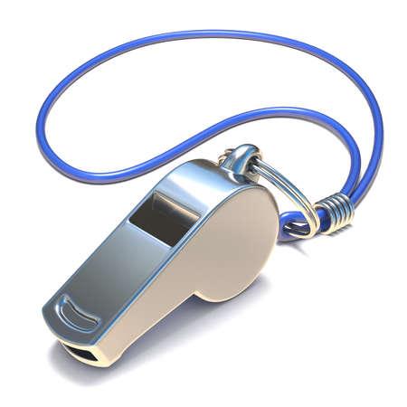 Metal whistle 3D render illustration isolated on white background 版權商用圖片 - 87915600