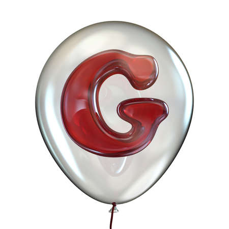 Letter G in transparent balloon 3D render illustration isolated on white background