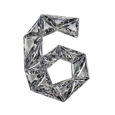 Crystal triangulated font number SIX 6 3D render illustration isolated on white background Stock Photo