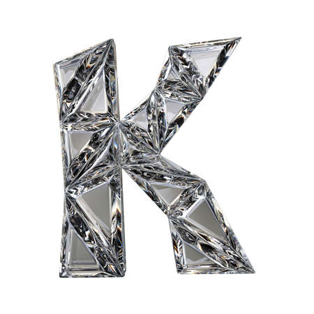 Crystal triangulated font letter K 3D render illustration isolated on white background