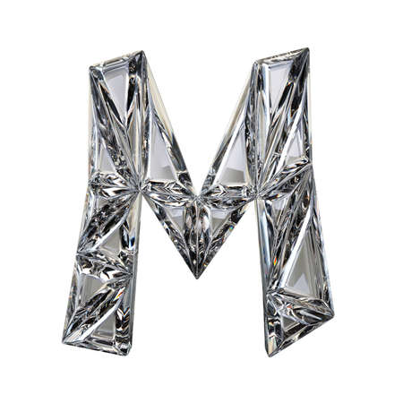 glamorous: Crystal triangulated font letter M 3D render illustration isolated on white background Stock Photo