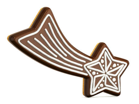 Chocolate Christmas gingerbread falling star decorated with white lines. 3D render illustration isolated on white background