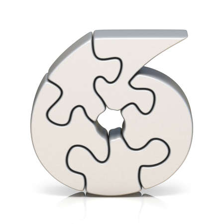 White puzzle jigsaw number SIX 6 3D render illustration isolated on white background Stock Photo