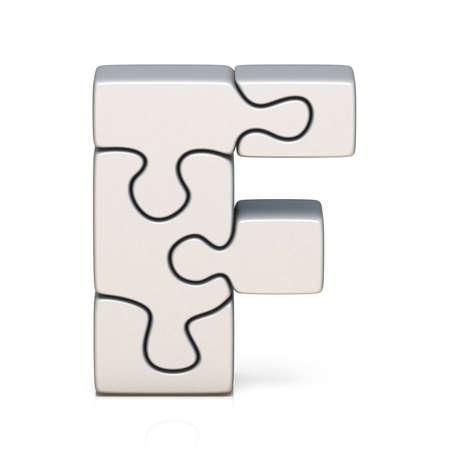 White puzzle jigsaw letter F 3D render illustration isolated on white background Banco de Imagens