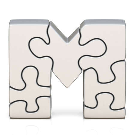 White puzzle jigsaw letter M 3D render illustration isolated on white background