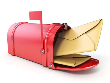 Red mailbox and two yellow envelope 3D render illustration isolated on white background
