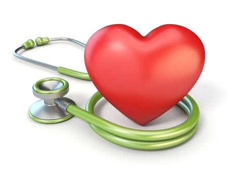 의료 청진 기 및 붉은 심장 모양 3D 렌더링 그림 흰색 배경에 고립