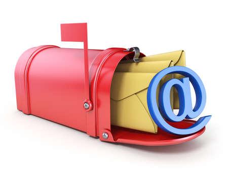 De rode brievenbus, twee gele envelop en het blauwe die AT-teken 3D geven illustratie op witte achtergrond wordt geïsoleerd terug