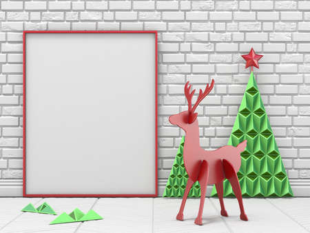 Mock up blank picture frame, Christmas decoration and reindeer with green Christmas trees 3D render illustration