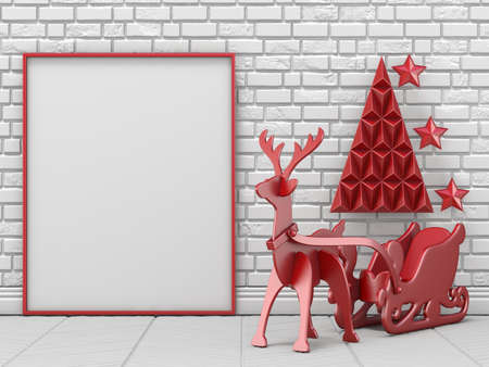 Mock up blank picture frame, Christmas decoration and reindeer with sleigh 3D render illustration Stock Photo