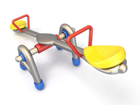 Children seesaw side view 3D render illustration isolated on white background Stock Photo