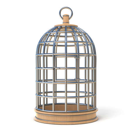 Empty bird cage closed 3D render illustration isolated on white background