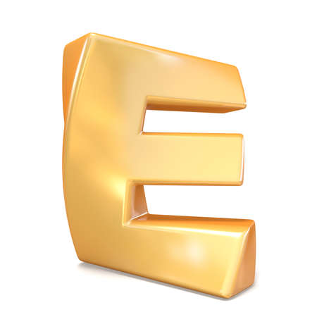Orange twisted font uppercase letter E 3D render illustration isolated on white background Stock fotó