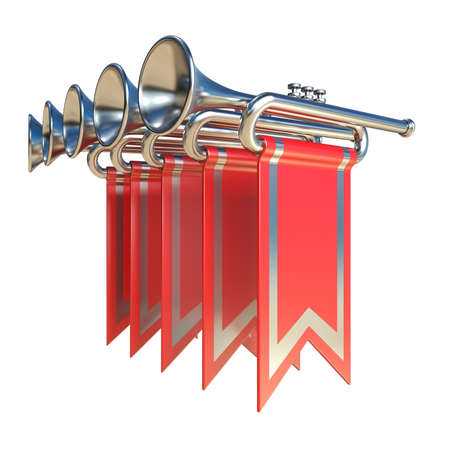 Fanfare five silver trumpets and red flags 3D render illustration isolated on white background Stock Photo