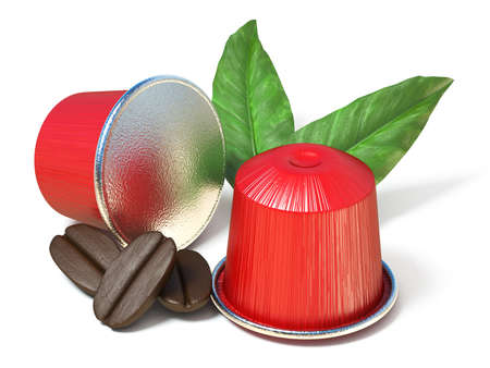Red coffee capsules with coffee beans and leaves 3D render illustration isolated on white background Stock Photo