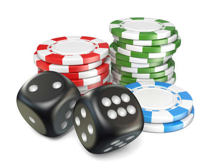 Stacks of red, green, blue gambling chips and black dices 3D ernder illustration isolated on white background