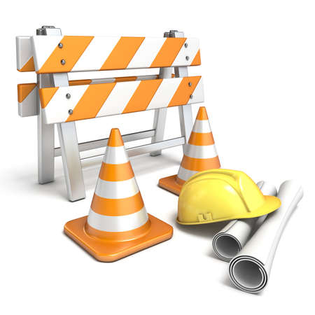 Under construction concept 3D render illustration isolated on white background Stock Photo