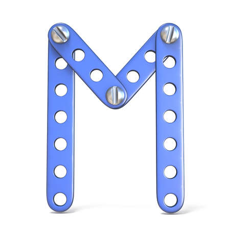 Alphabet made of blue metal constructor toy Letter M 3D render illustration isolated on white background