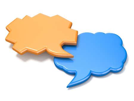 Orange and blue irregular shape blank speech bubbles 3D illustration isolated on white background