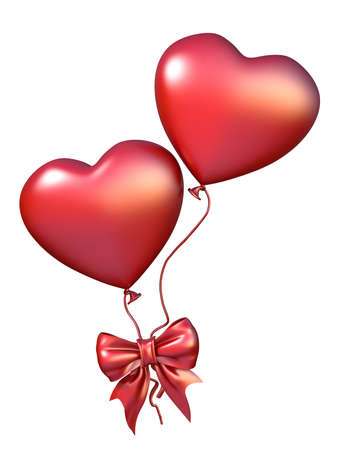 Two red heart shaped balloons with ribbon bow 3D render illustration isolated on white background