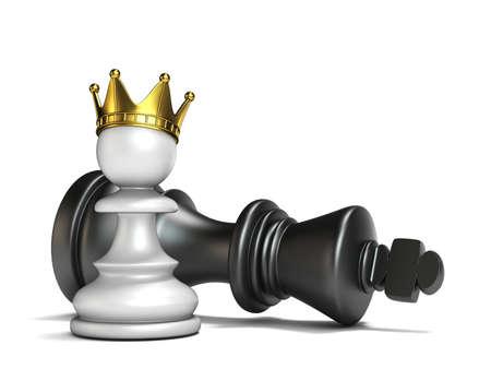 White pawn has won black king 3D render illustration isolated on white background