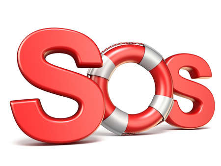 SOS sign with lifebuoy 3D render illustration isolated on white background