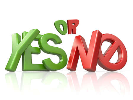 YES or NO concept 3D render illustration isolated on white background