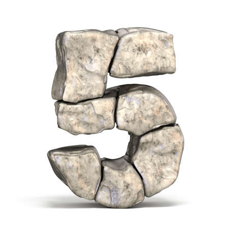 Stone font number 5 FIVE 3D render illustration isolated on white background