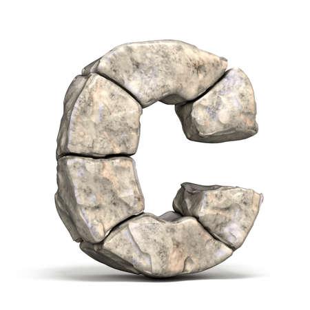 Steingussbuchstabe C 3D machen Illustration lokalisiert auf weißem Hintergrund Standard-Bild