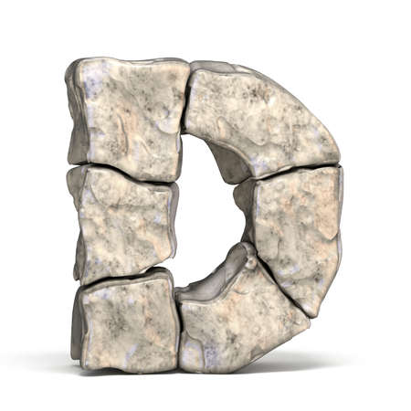 Stone font letter D 3D render illustration isolated on white background