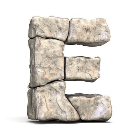 Kamienna czcionka litera E 3D render ilustracji na białym tle