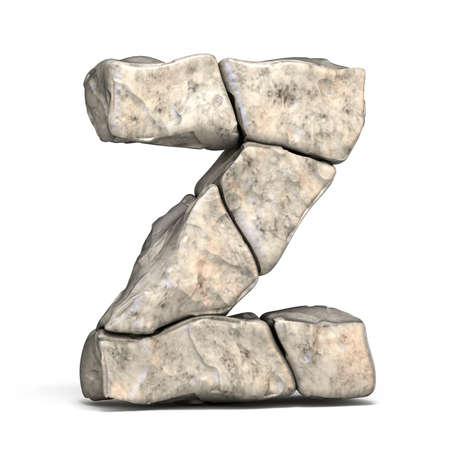 Stone font letter Z 3D render illustration isolated on white background