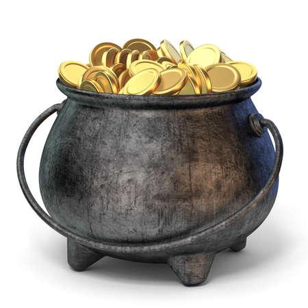 Iron pot full of golden coins 3D render illustration isolated on white background