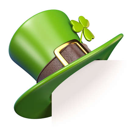 Green St. Patricks Day hat with clover Paper corner 3D render illustration isolated on white background