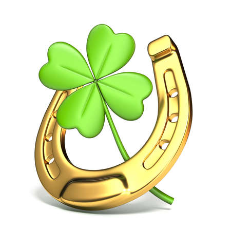 Lucky symbols horse-shoe and four-leaf clover Side view 3D render illustration isolated on white background