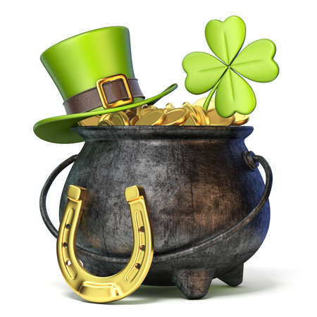 Iron pot full of golden coins, Green St. Patricks Day hat, clover and horseshoe 3D render illustration isolated on white background Stock Photo