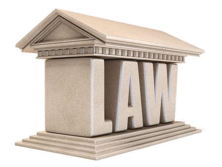 Il tempio 3D di LEGGE di parola rende l'illustrazione isolata su fondo bianco Archivio Fotografico - 99393536
