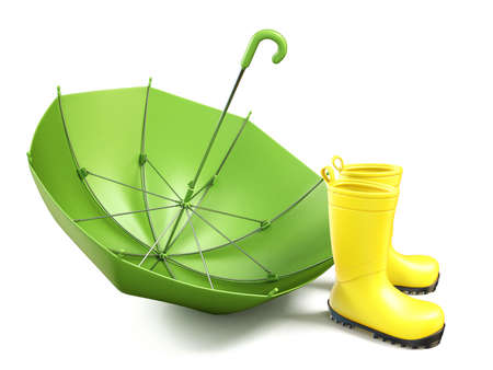 Pair of yellow rain boots and a green umbrella 3D render illustration isolated on white background Stock Photo