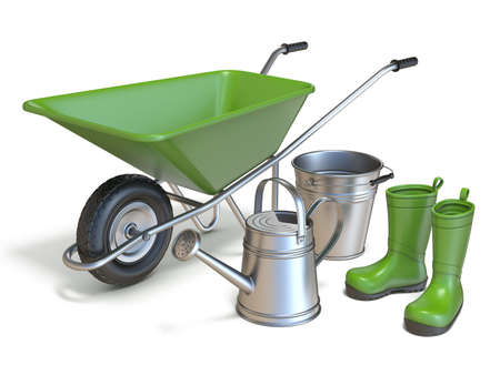 Wheelbarrow with gumboots, watering can and metal bucket 3D render illustration isolated on white background Stock Photo