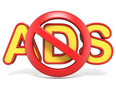 Forbidden sign with ADS text 3D render illustration isolated on white background Stock Photo