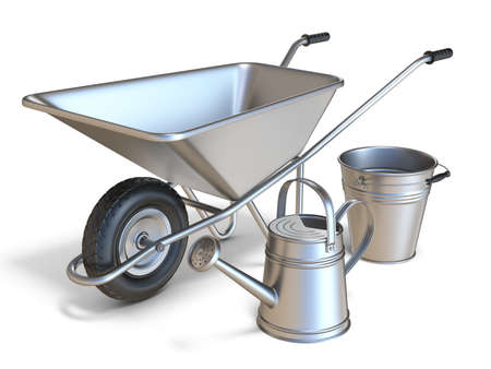 Wheelbarrow with watering can and metal bucket 3D render illustration isolated on white background